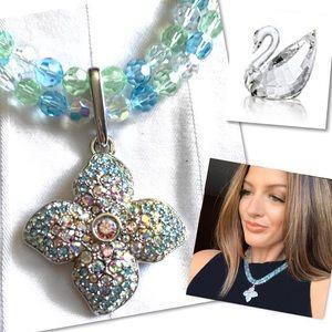 Swarovski Crystal Sparkling flower Mix  necklace